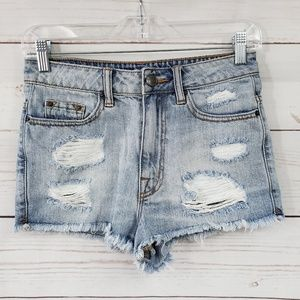 BDG high rise free cheeky distressed ripped shorts